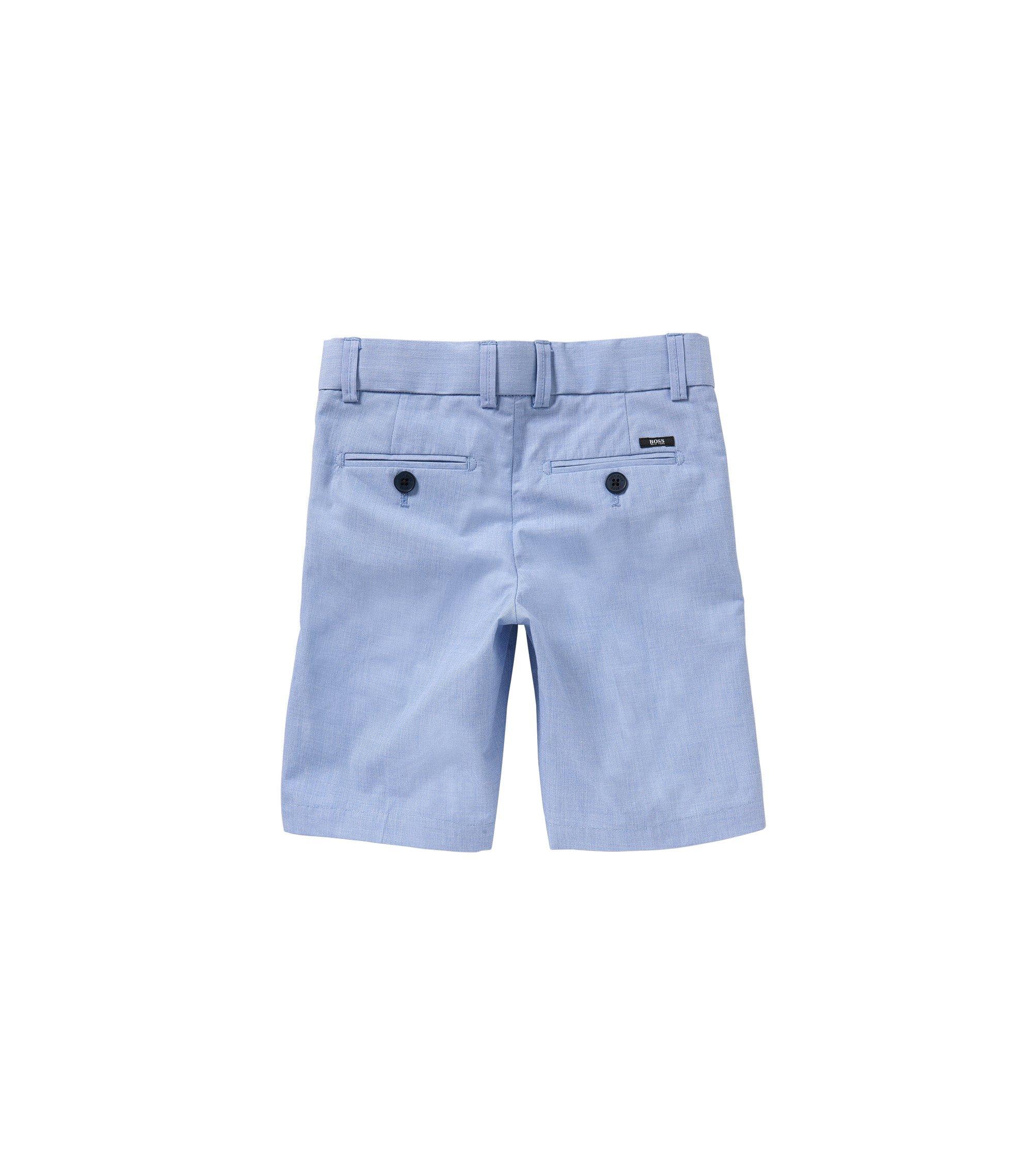 Short pour enfant en coton orné d'un détail à rayures: «J24411», Bleu vif