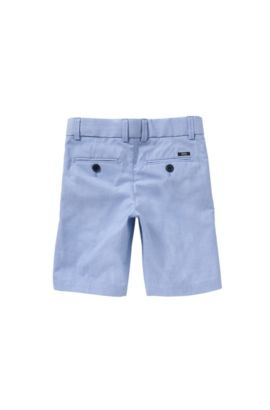Kids' shorts in cotton with striped detail: 'J24411', Light Blue