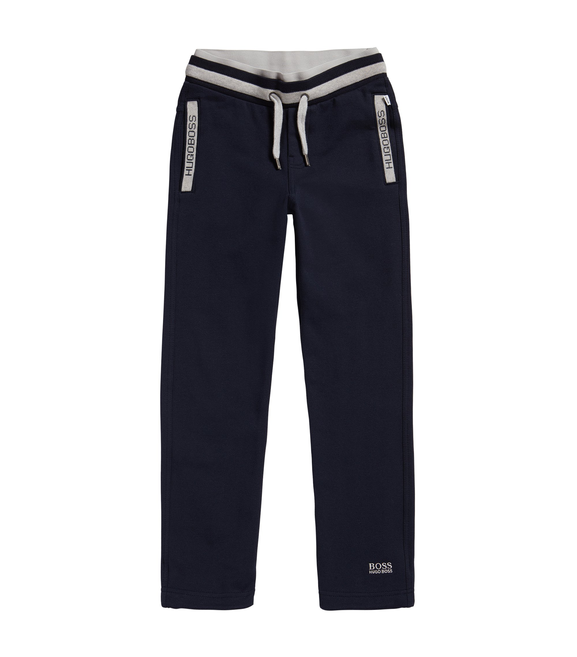 Pantalon molletonné pour enfant en coton mélangé extensible, avec cordon de serrage: «J24414», Bleu foncé
