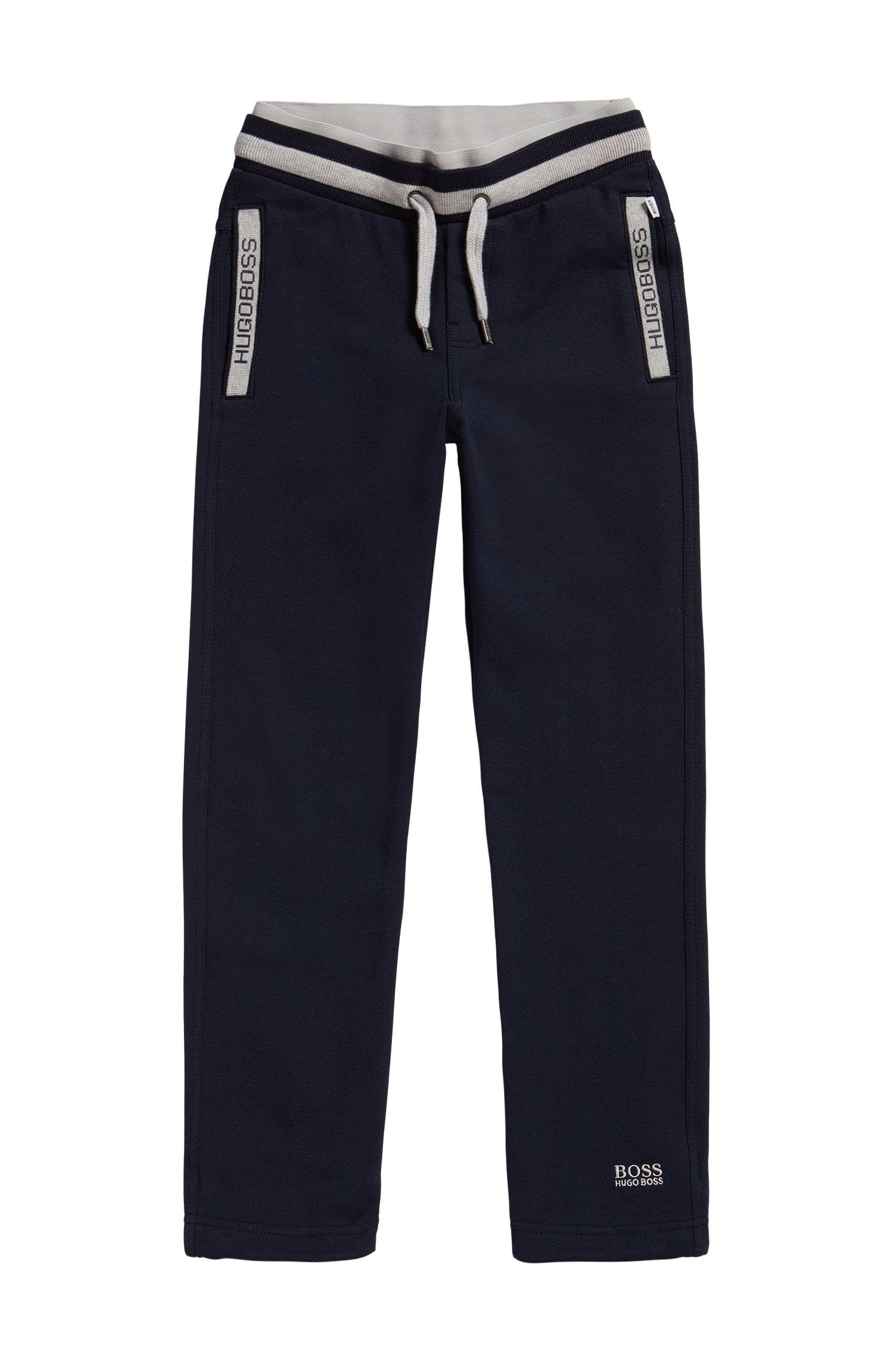 Pantalon molletonné pour enfant en coton mélangé extensible, avec cordon de serrage: «J24414»