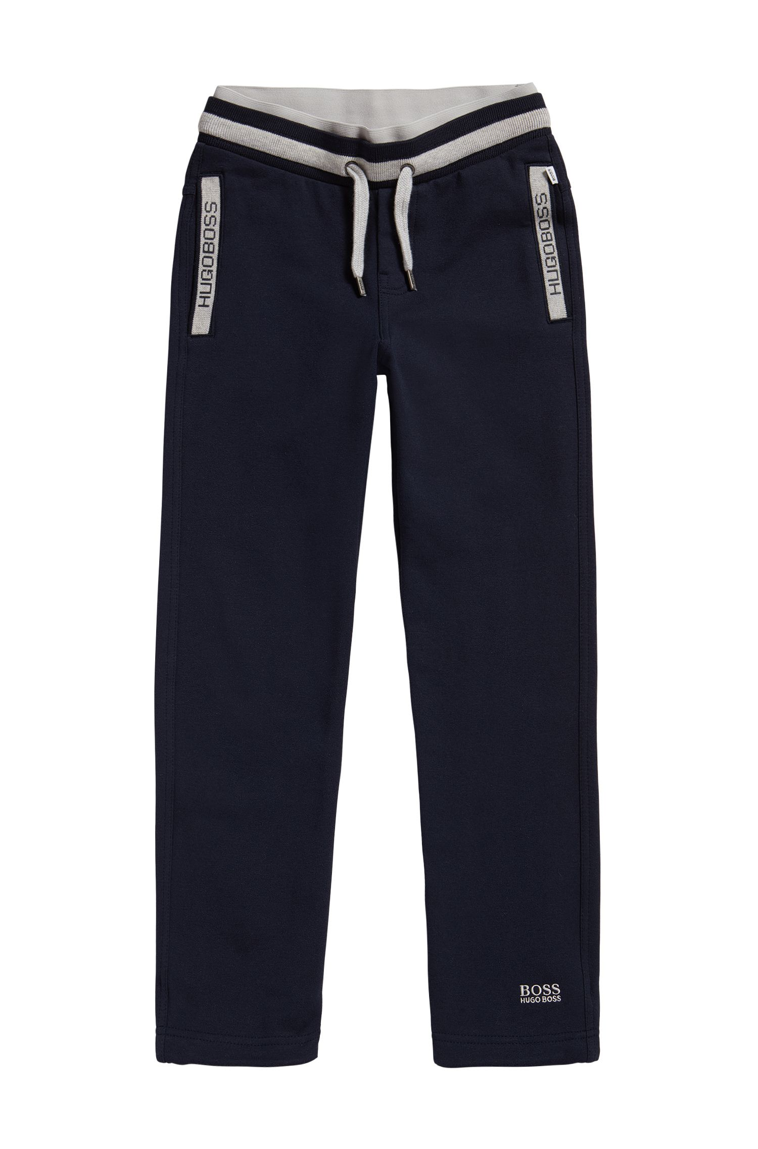 Kids' tracksuit bottoms in stretch cotton blend with drawstring: 'J24414'