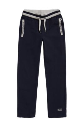 Kids' tracksuit bottoms in stretch cotton blend with drawstring: 'J24414', Dark Blue