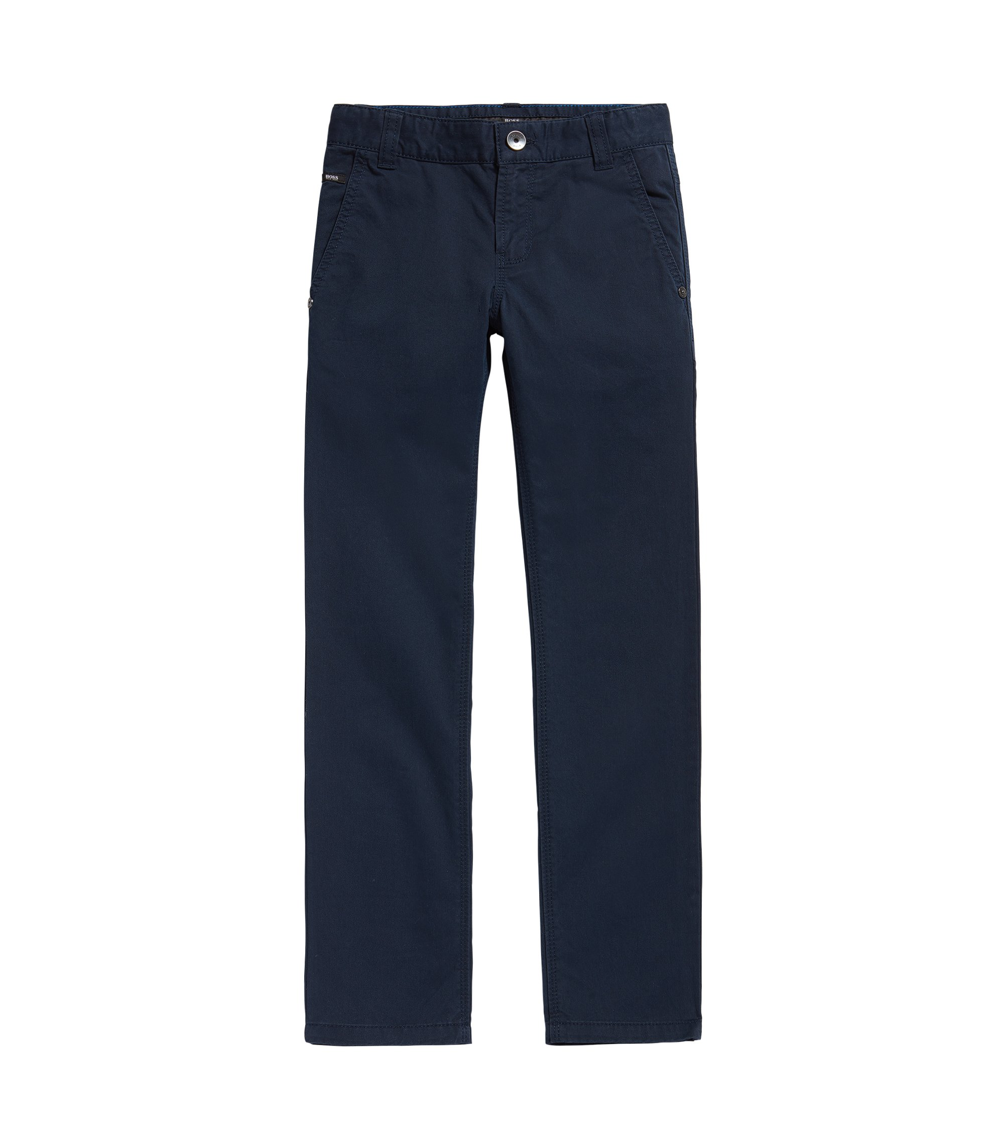 Pantalón para niño en algodón con diseño liso: 'J24418', Azul oscuro