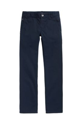 Kids' cotton trousers in a plain design: 'J24418', Dark Blue
