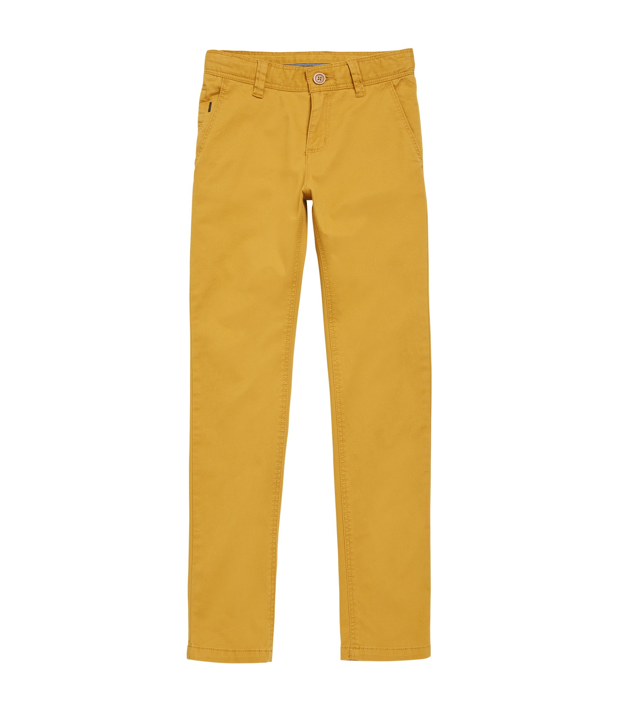 Chino uni pour enfant en coton stretch : « J24421 », Brun chiné