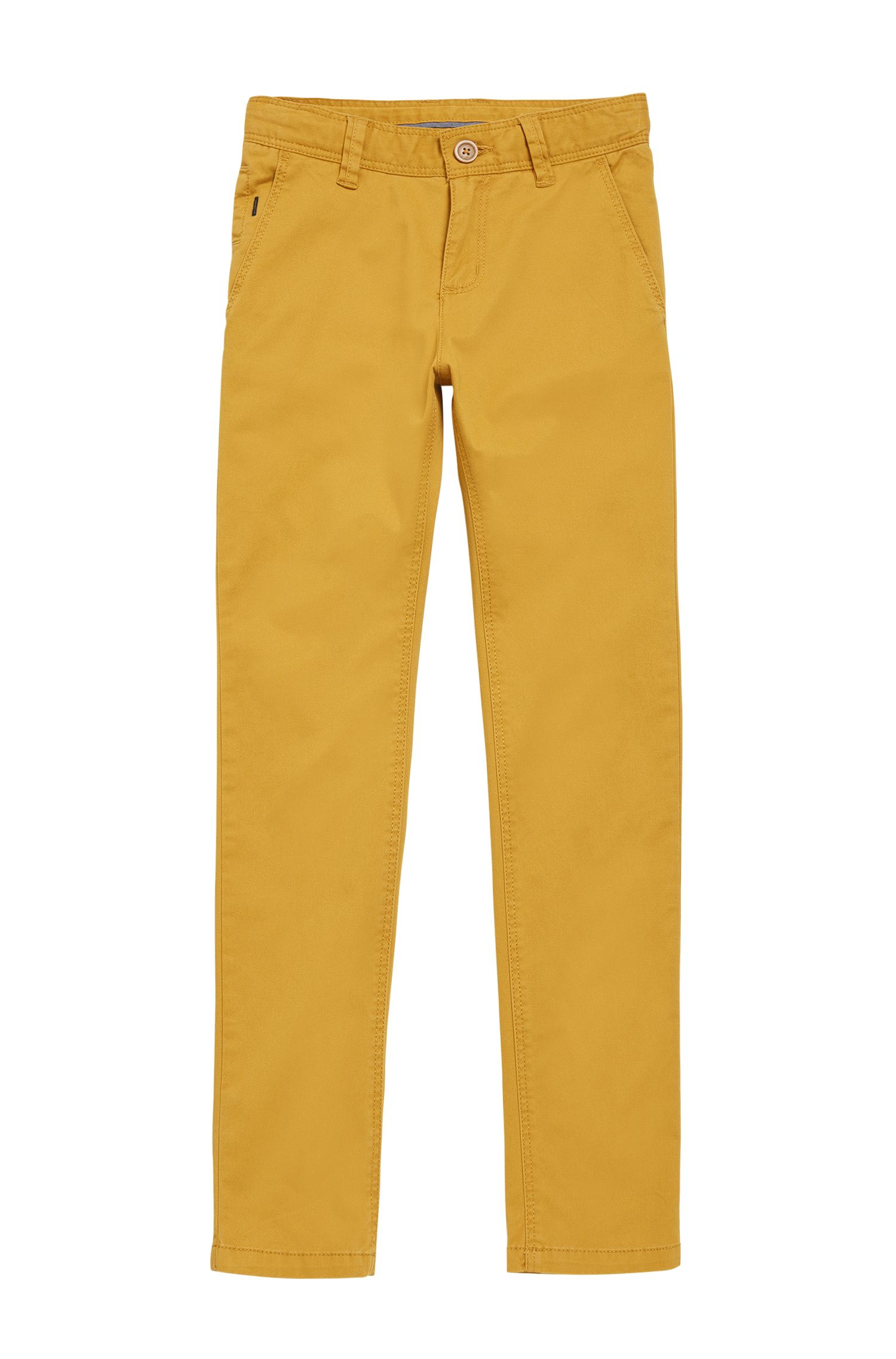 Kids' chinos in stretch cotton in a plain-coloured design: 'J24421'