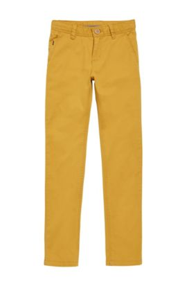 Kids' chinos in stretch cotton in a plain-coloured design: 'J24421', Light Brown