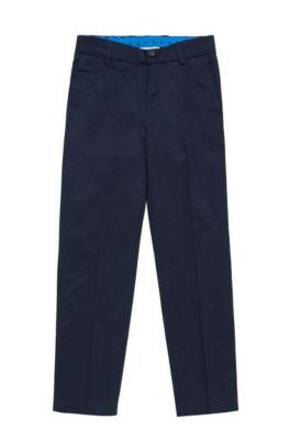 Chino pour enfant en coton, à plis marqués: «J24423», Bleu foncé