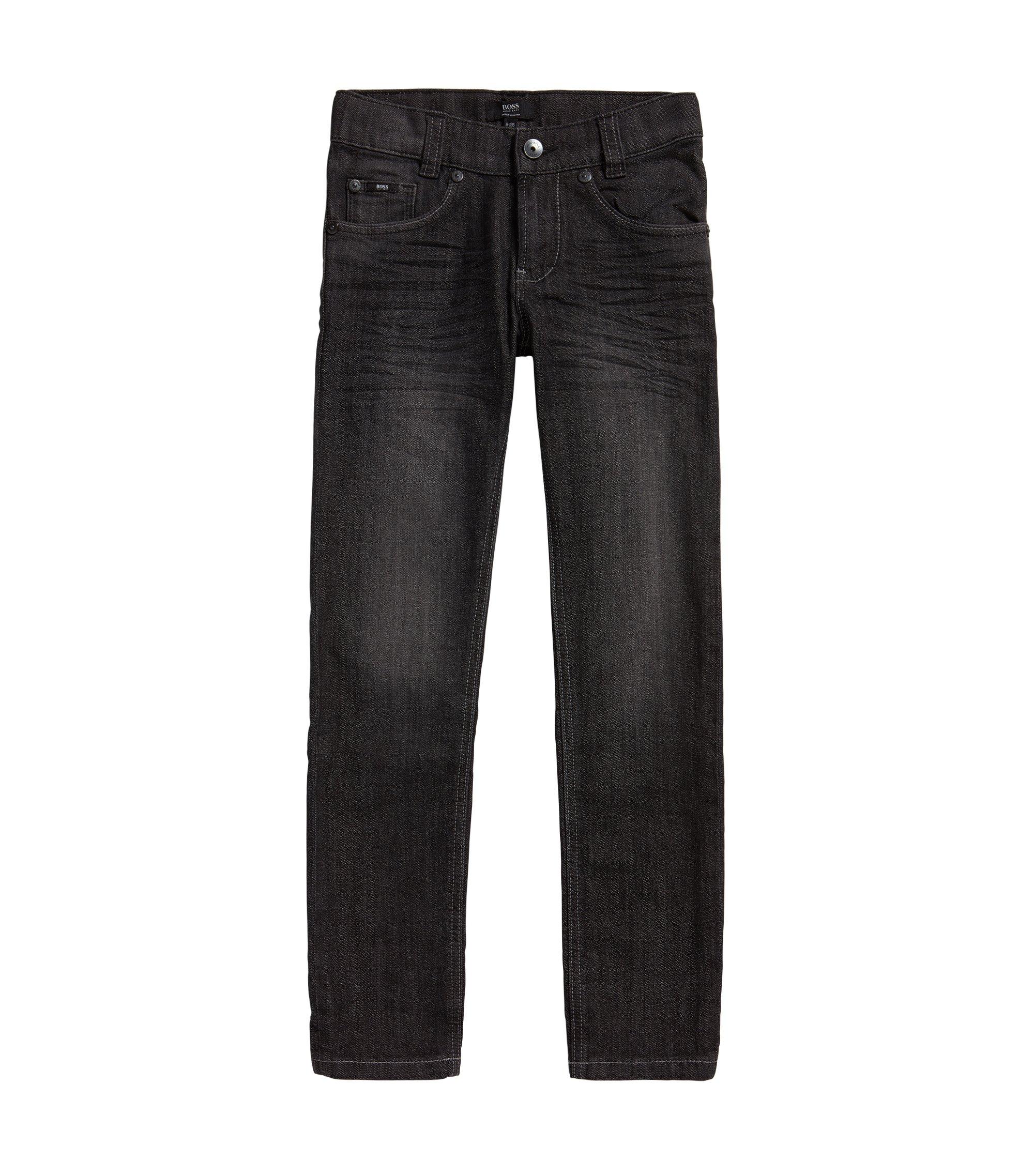 Slim-Fit Kids-Jeans aus Stretch-Baumwolle mit Used-Waschung: 'J24424', Gemustert