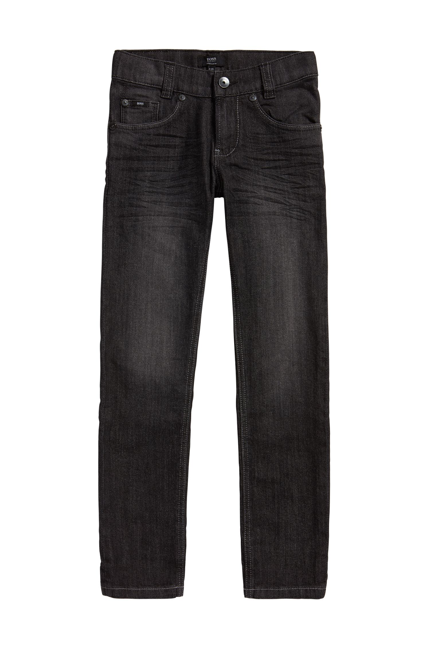 Jeans pour enfant Slim Fit en coton stretch à effets délavés usés: «J24424»