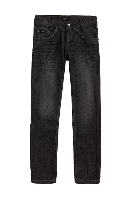 Jeans pour enfant Slim Fit en coton stretch à effets délavés usés: «J24424», Fantaisie