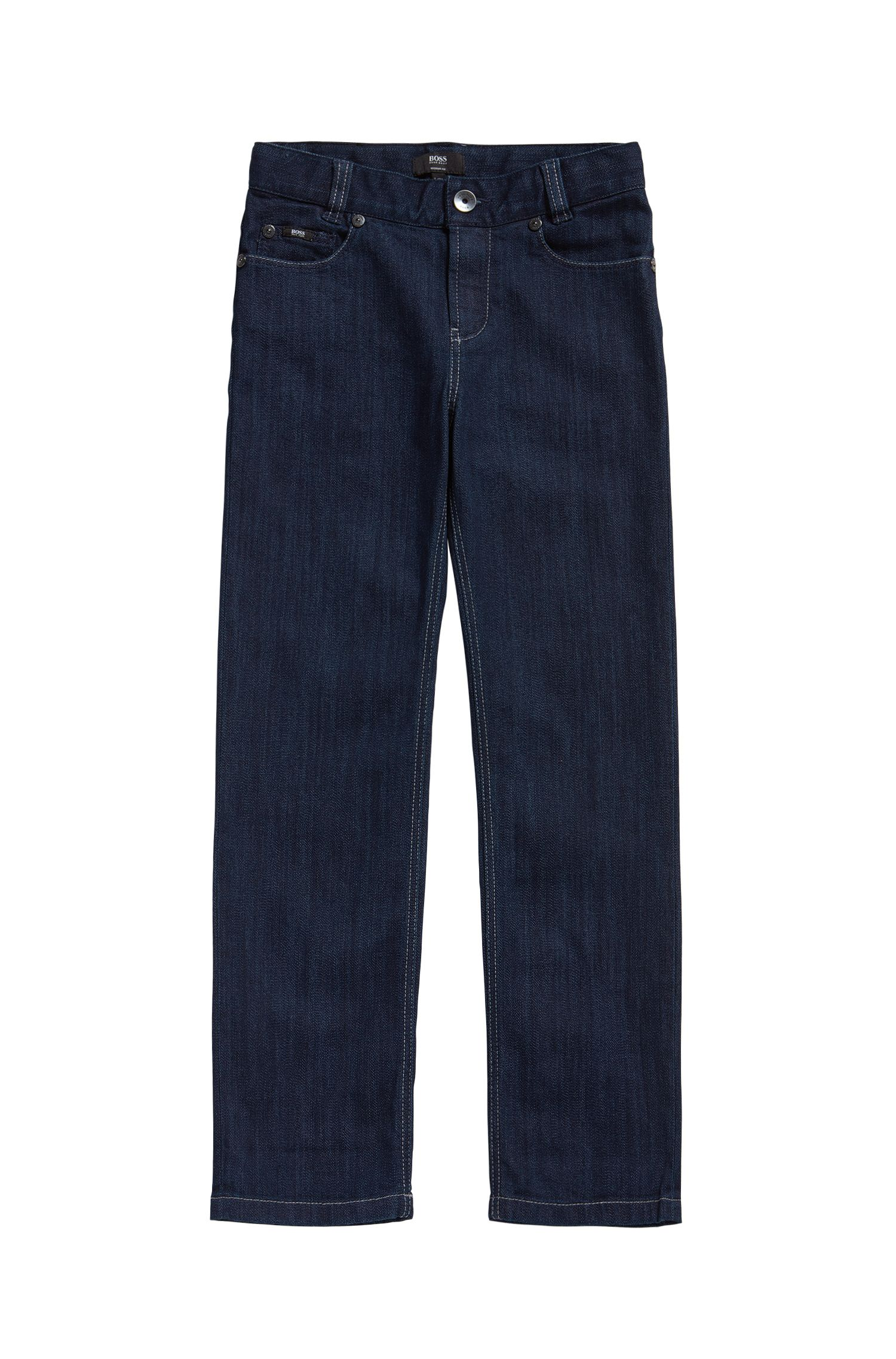 Kids' jeans in a stretch cotton blend with contrast stitching: 'J24425'