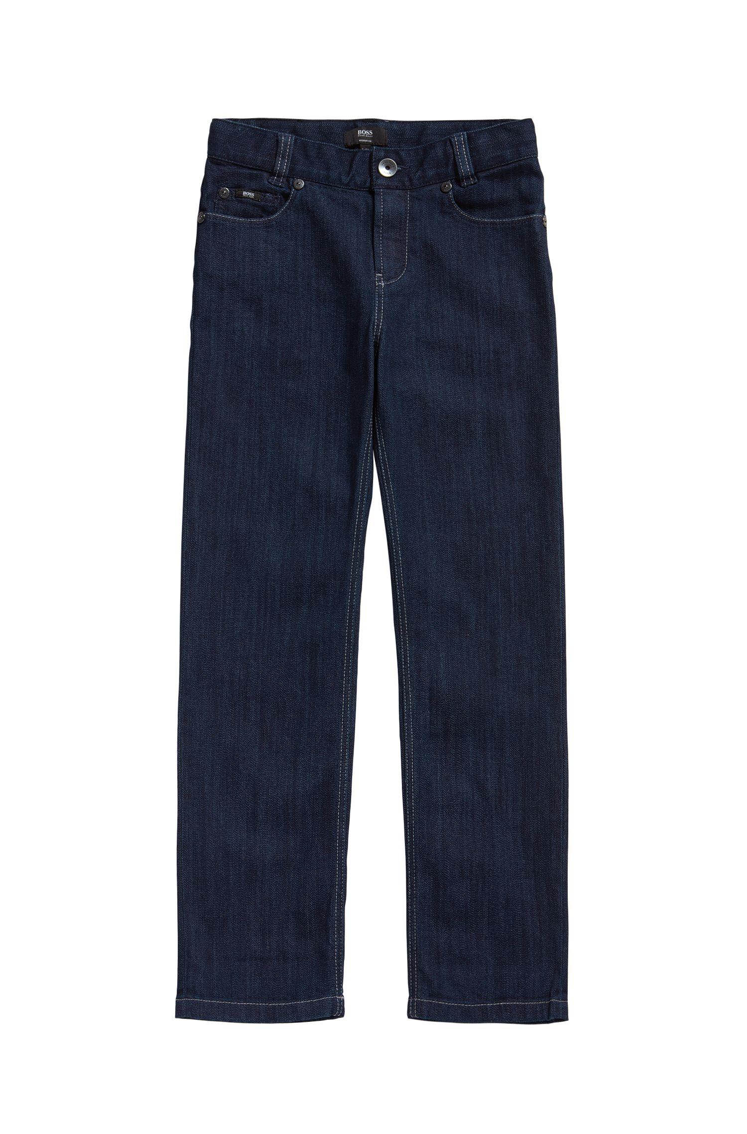 Jeans pour enfant en coton mélangé extensible agrémenté de coutures contrastantes: «J24425»