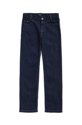 Kids' jeans in a stretch cotton blend with contrast stitching: 'J24425', Patterned