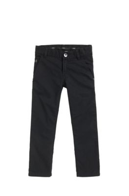 Pantaloni slim fit da bambino in twill di cotone, Nero
