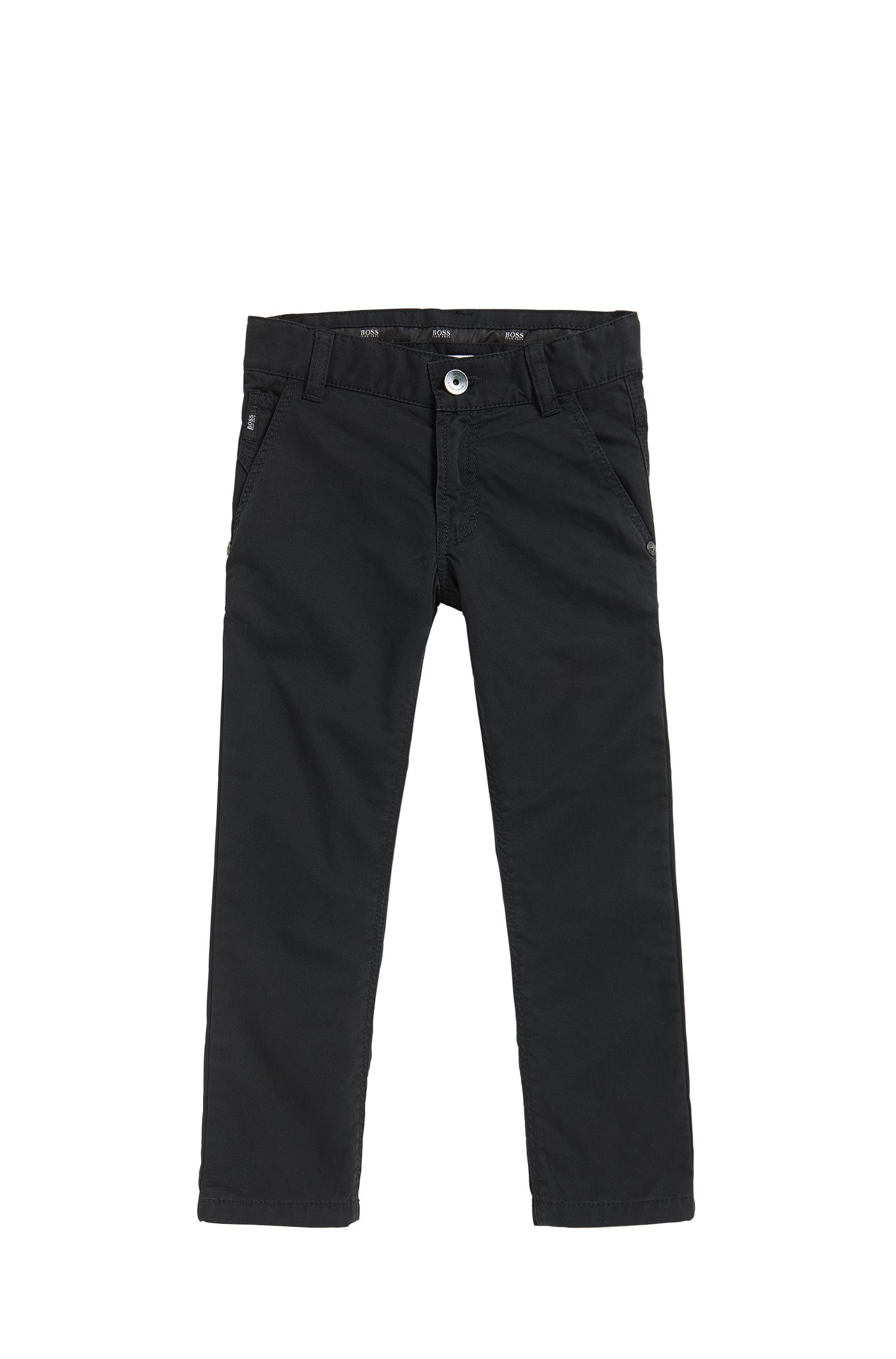 Kids' slim-fit trousers in cotton twill