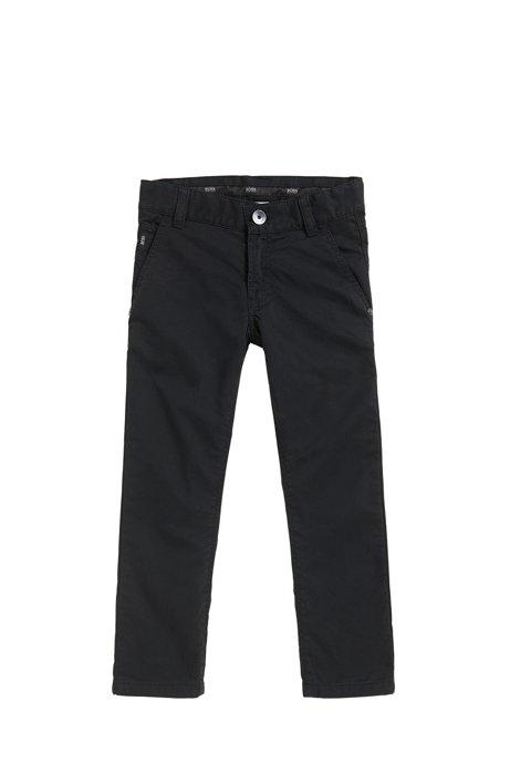 Pantalon Slim Fit pour enfant en twill de coton, Noir