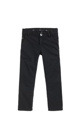 Kids' slim-fit trousers in cotton twill, Black