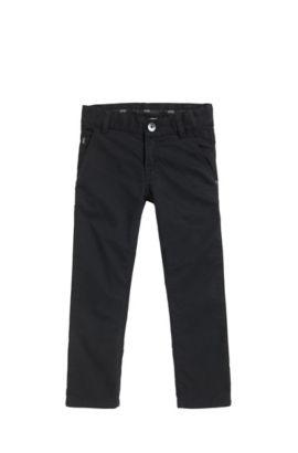 Pantalones slim fit para niños en sarga de algodón, Negro