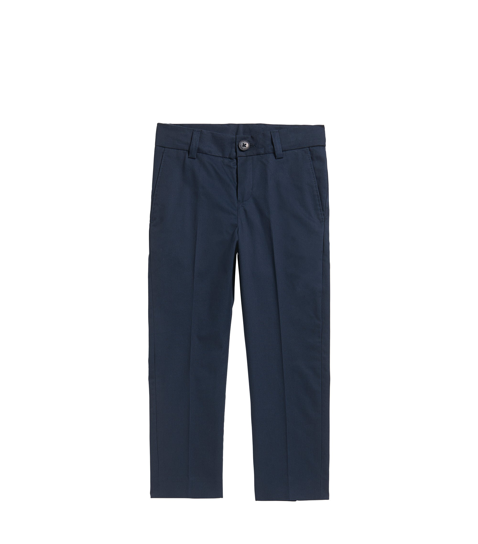 Kids' regular-fit suit trousers in cotton twill, Dark Blue