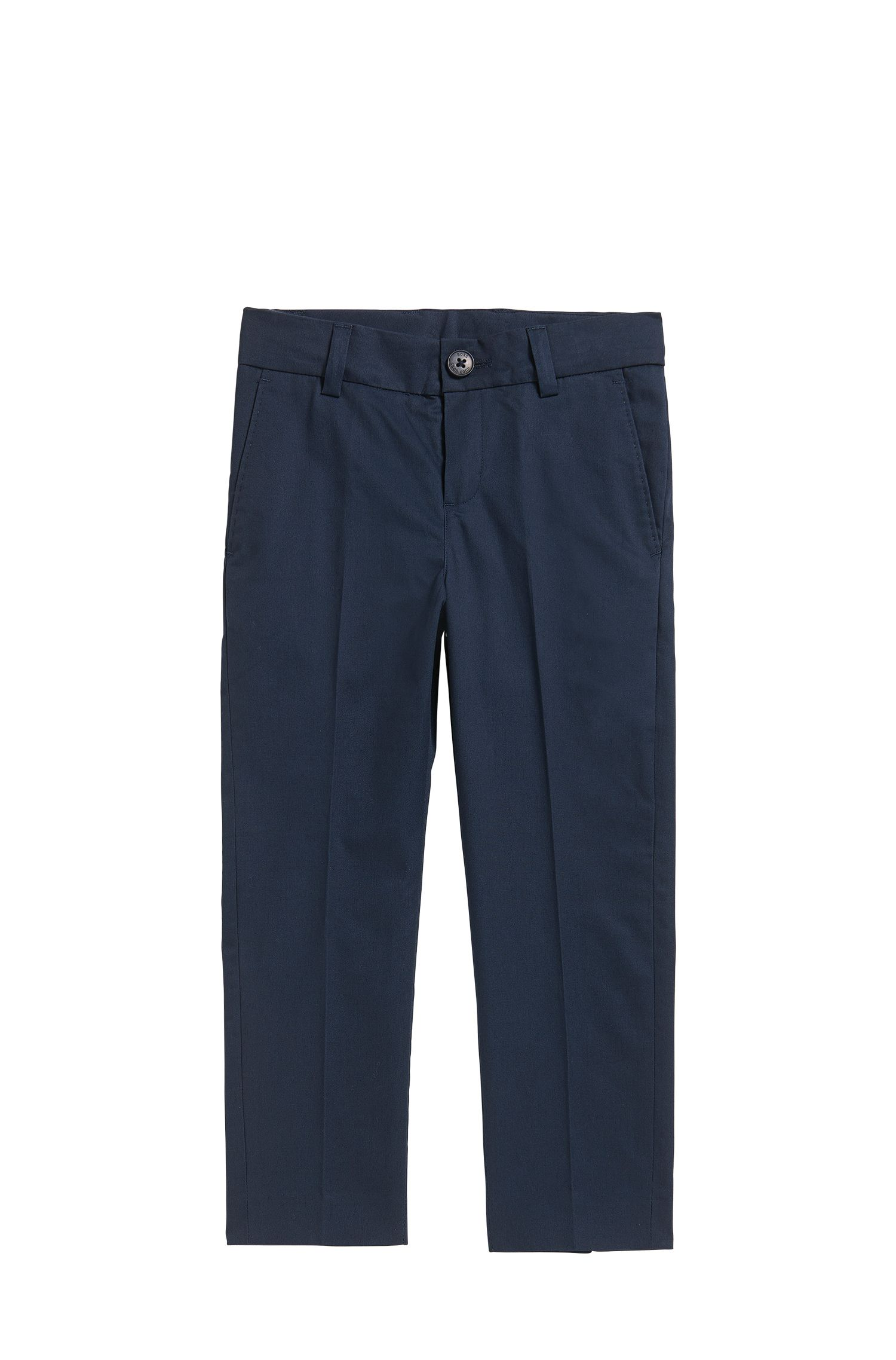 Kids' regular-fit suit trousers in cotton twill