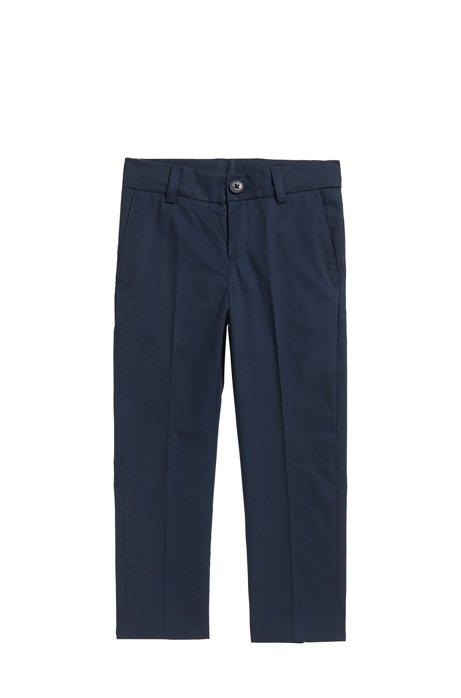 Regular-Fit Kids-Anzughose aus Baumwoll-Twill, Dunkelblau