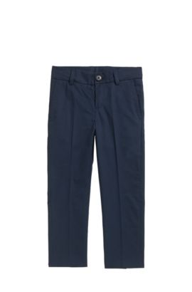 Pantalones de traje regular fit para niños en sarga de algodón, Azul oscuro