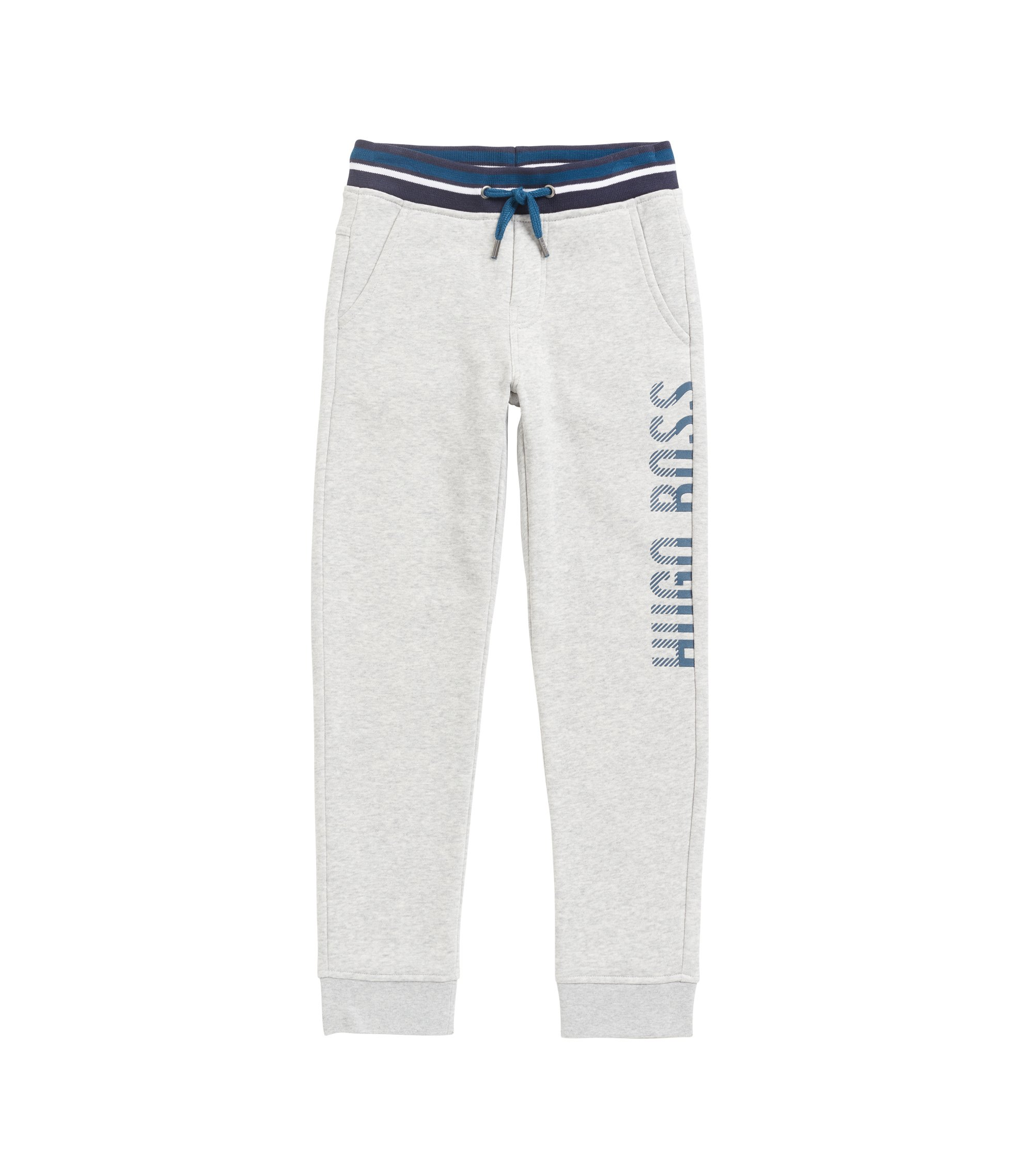 Kids' loungewear trousers in cotton-blend fleece, Light Grey