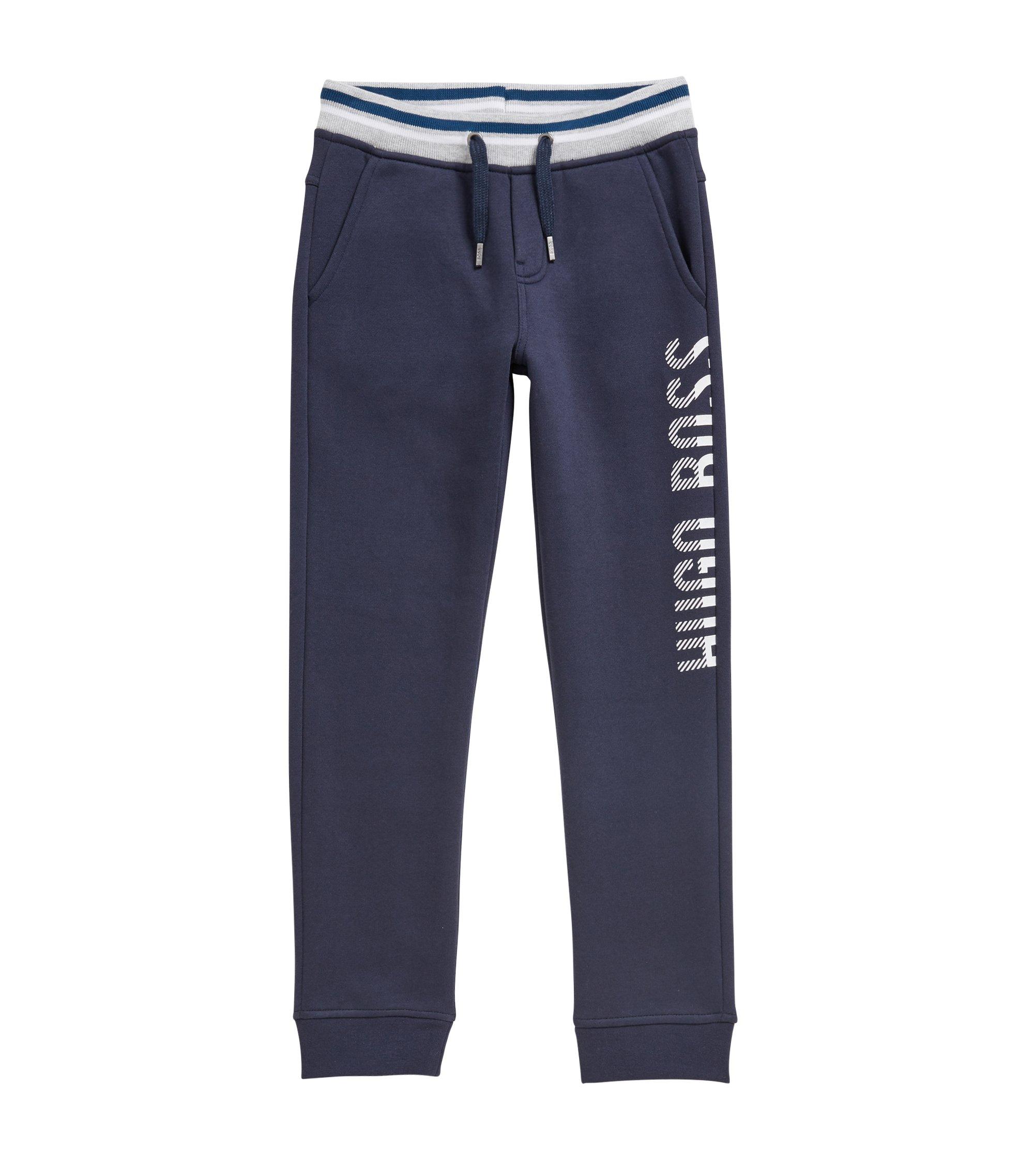 Pantalon d'intérieur pour enfant en molleton de coton mélangé, Bleu foncé