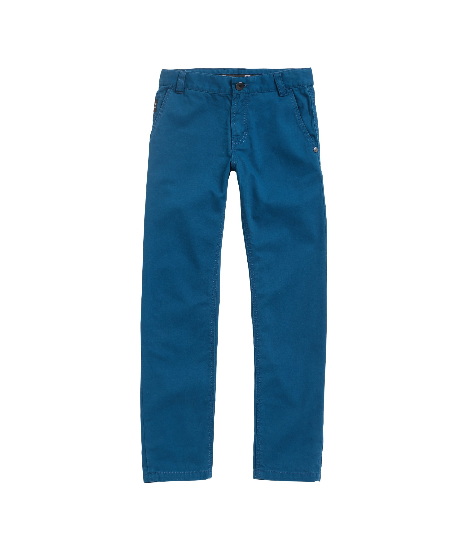 Kids' trousers in cotton twill with leather flag label, Blue