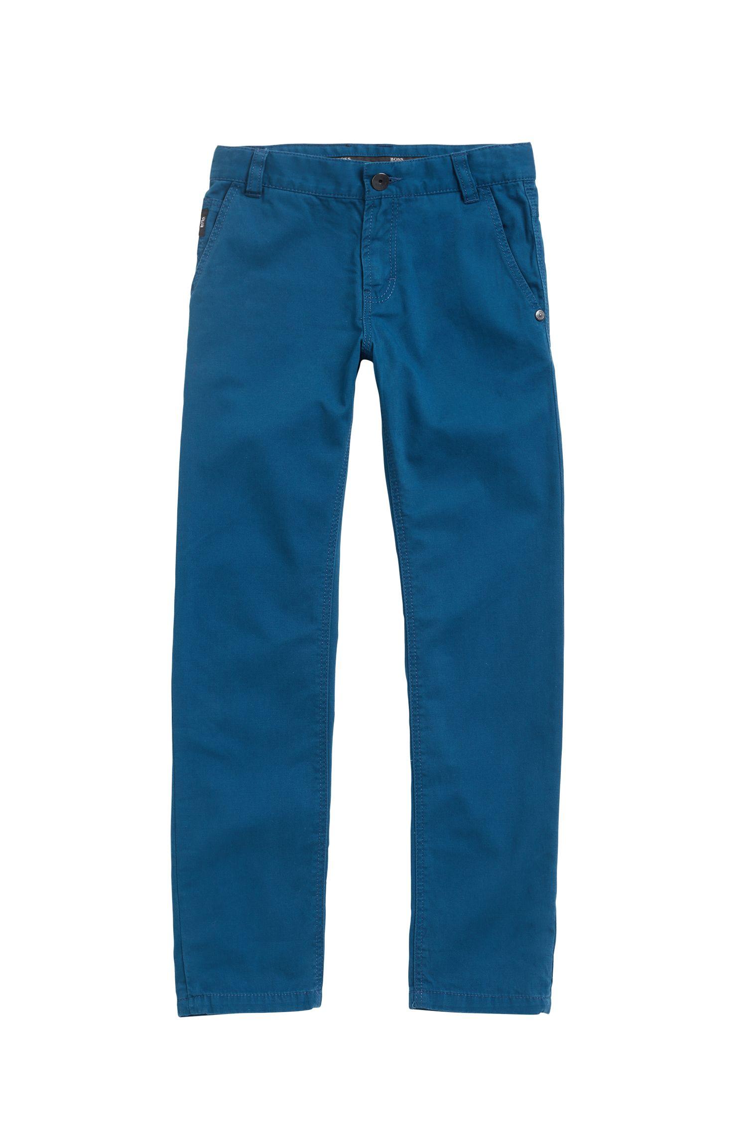 Pantalones para niños en sarga de algodón con etiqueta de piel, Azul