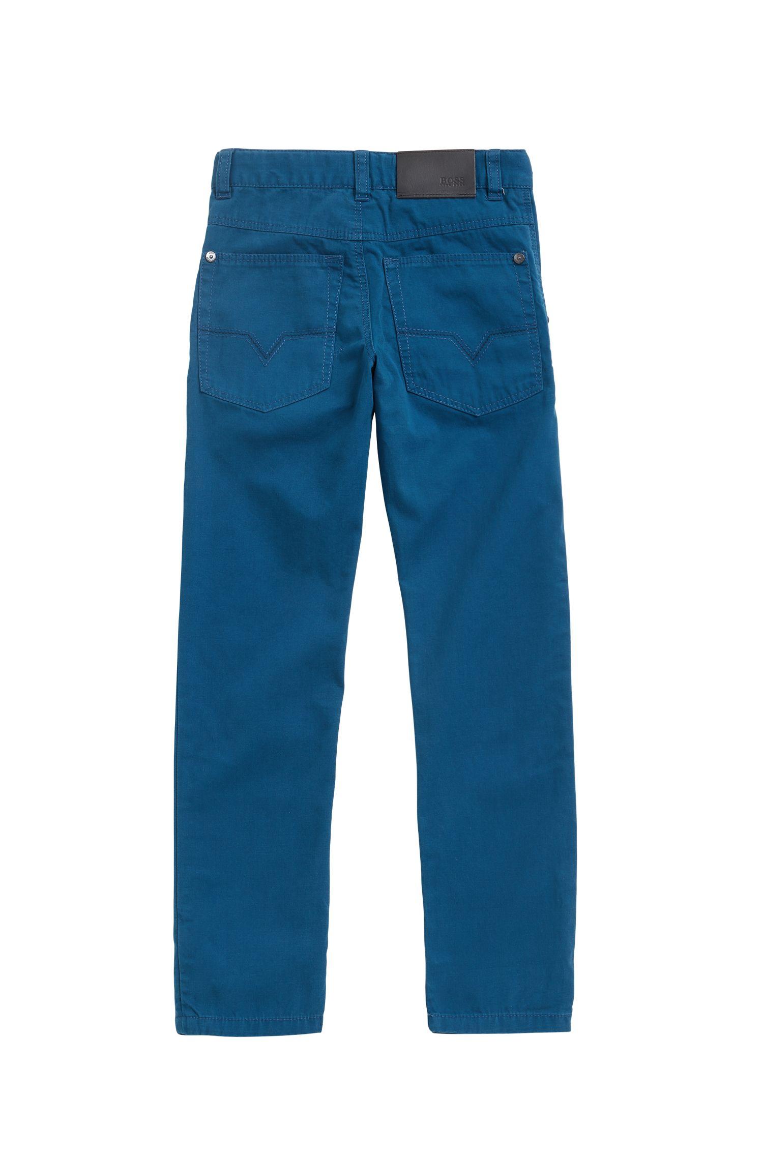 Pantalon en twill de coton avec étiquette logo drapeau en cuir pour enfants, Bleu