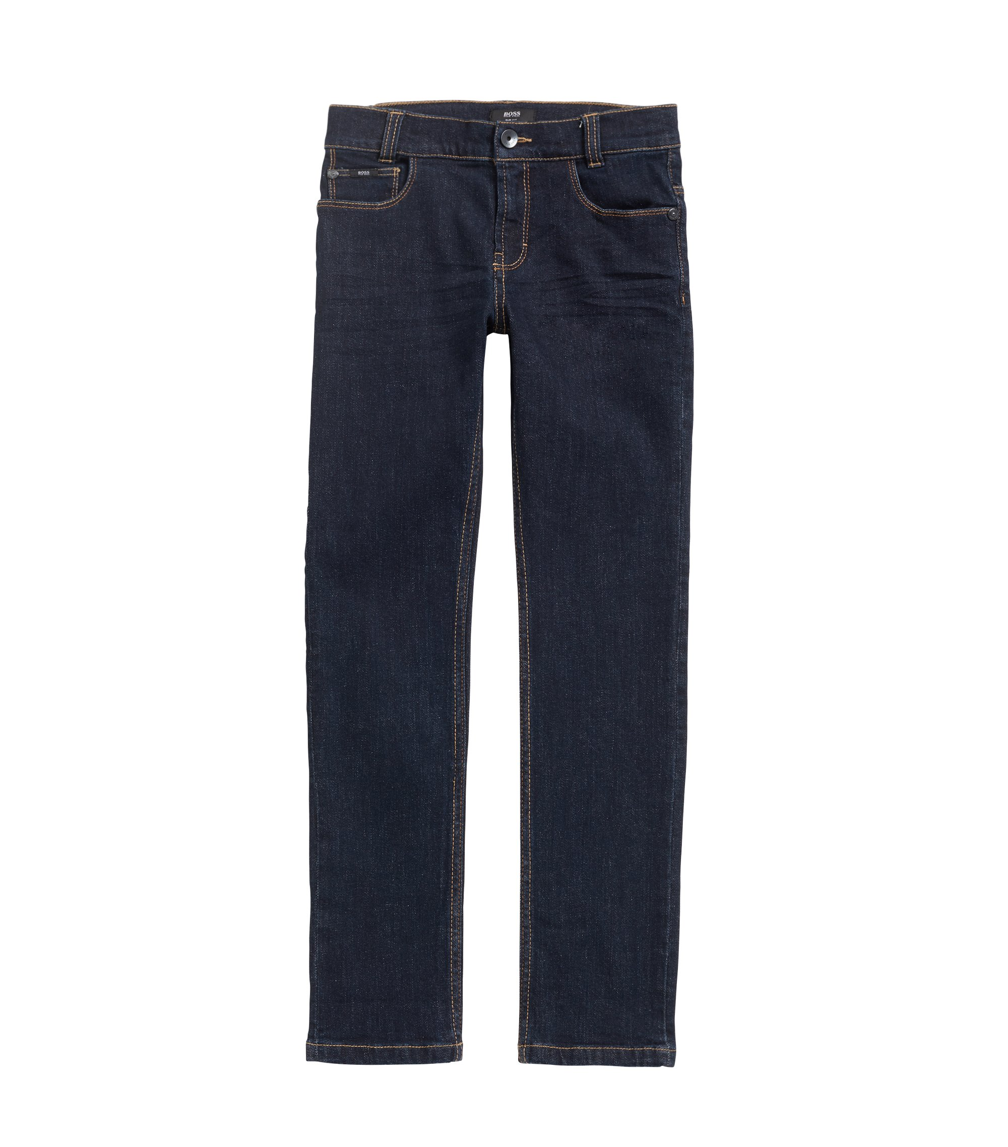 Kids' jeans in rinsed stretch denim, Patterned