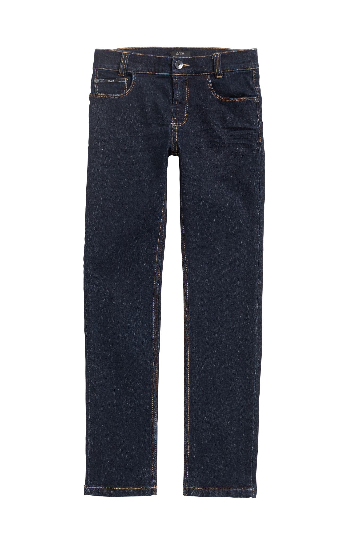 Kids-Jeans aus gewaschenem Stretch-Denim, Gemustert