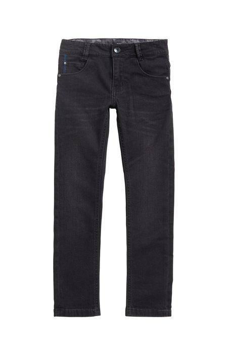 Regular-fit jeans van zwart stretchdenim voor kinderen, met garneersel in camouflageprint, Zwart