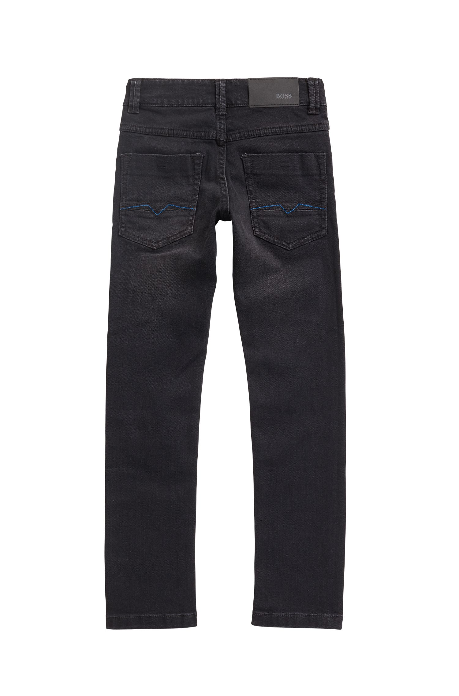 Jean pour enfant Regular Fit en denim stretch noir, à la finition camouflage, Noir