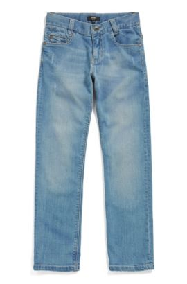 Kids' slim-fit jeans in stretch denim, Patterned