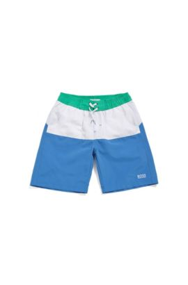 Kids' swim shorts in mixed materials with elastic waistband: 'J24514', Blue