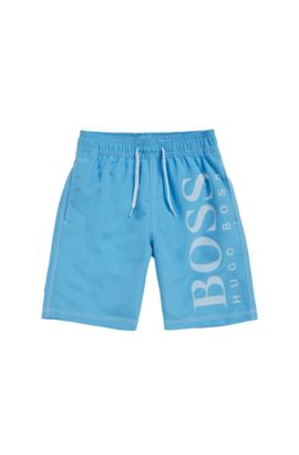 Kids' swim shorts in stretch cotton blend with a logo print: 'J24517', Turquoise