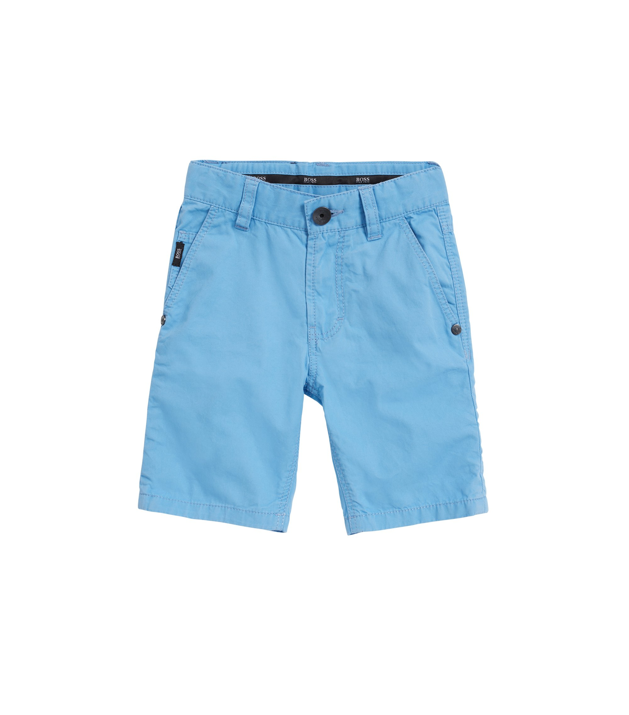 Kids' Bermuda shorts in cotton twill with taped cuffs, Turquoise