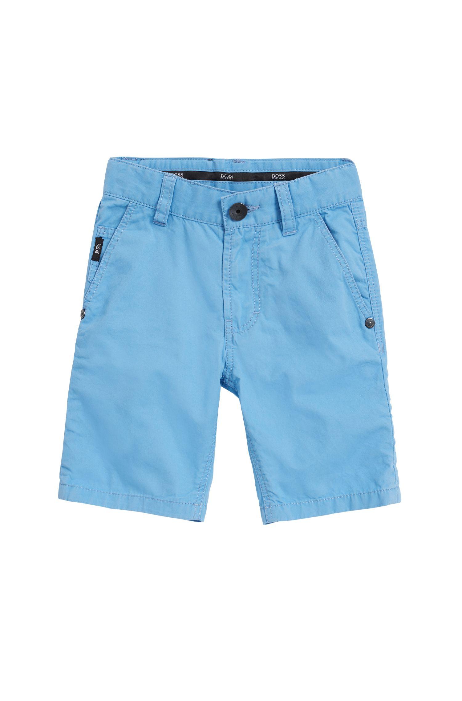 Kids-Bermuda aus Baumwoll-Twill mit Zierstreifen an den Beinumschlägen