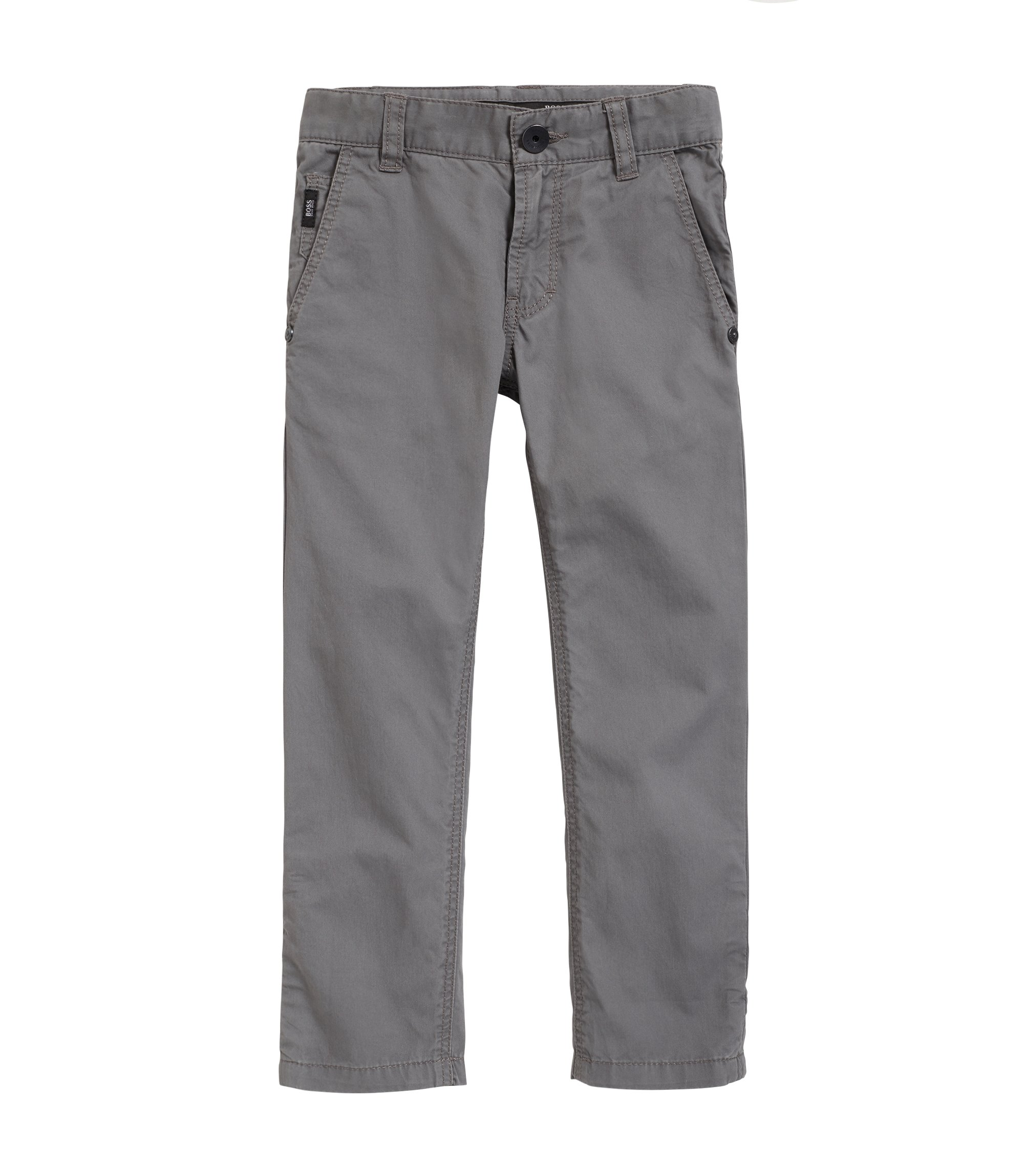 Kids' casual trousers in cotton twill with detailed turn-ups, Dark GreyDark Grey