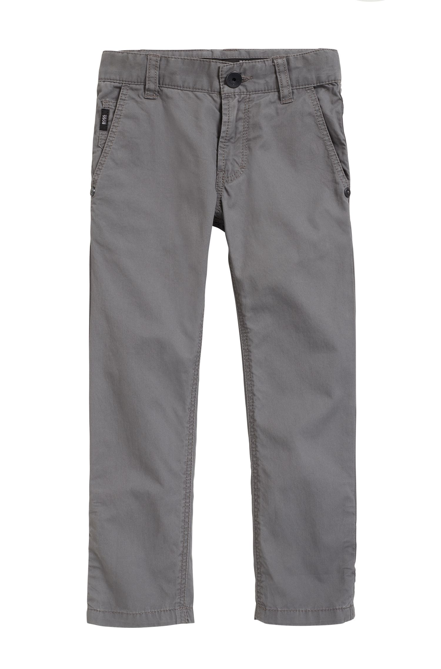Kids' casual trousers in cotton twill with detailed turn-ups