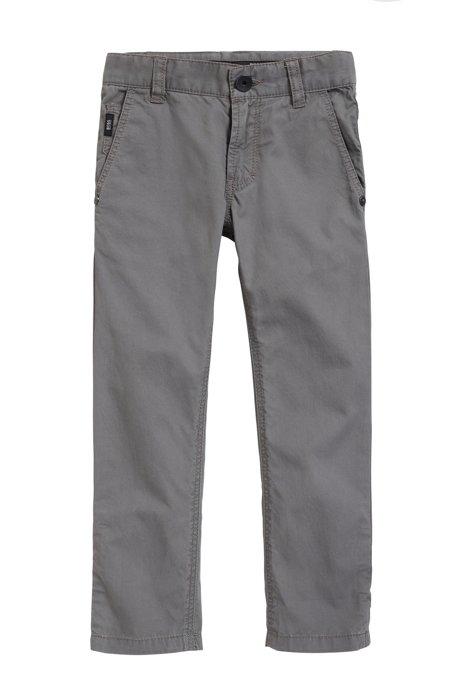 HUGO BOSS Pantalon casual enfant en sergé de coton, avec revers détaillés