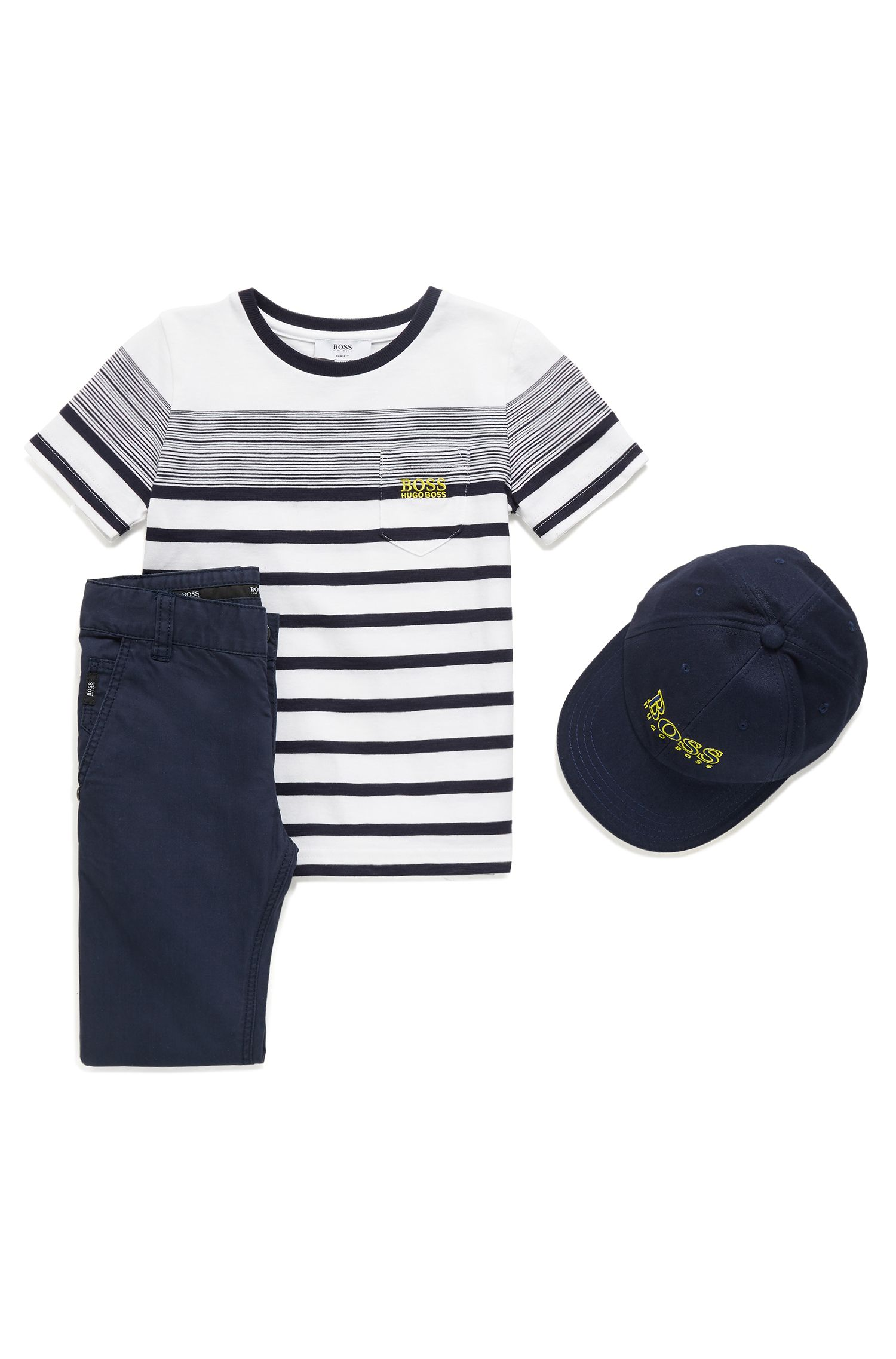Kids' casual trousers in cotton twill with detailed turn-ups, Dark Blue