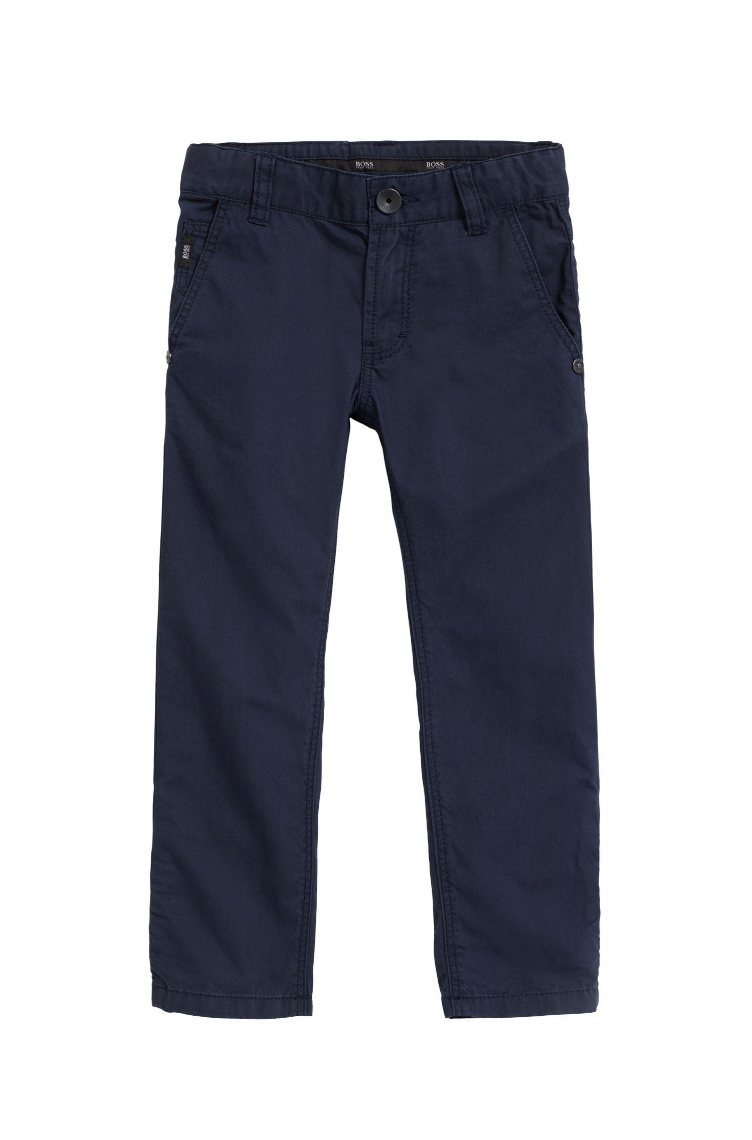 Pantaloni casual da bambino in twill di cotone con risvolti particolari