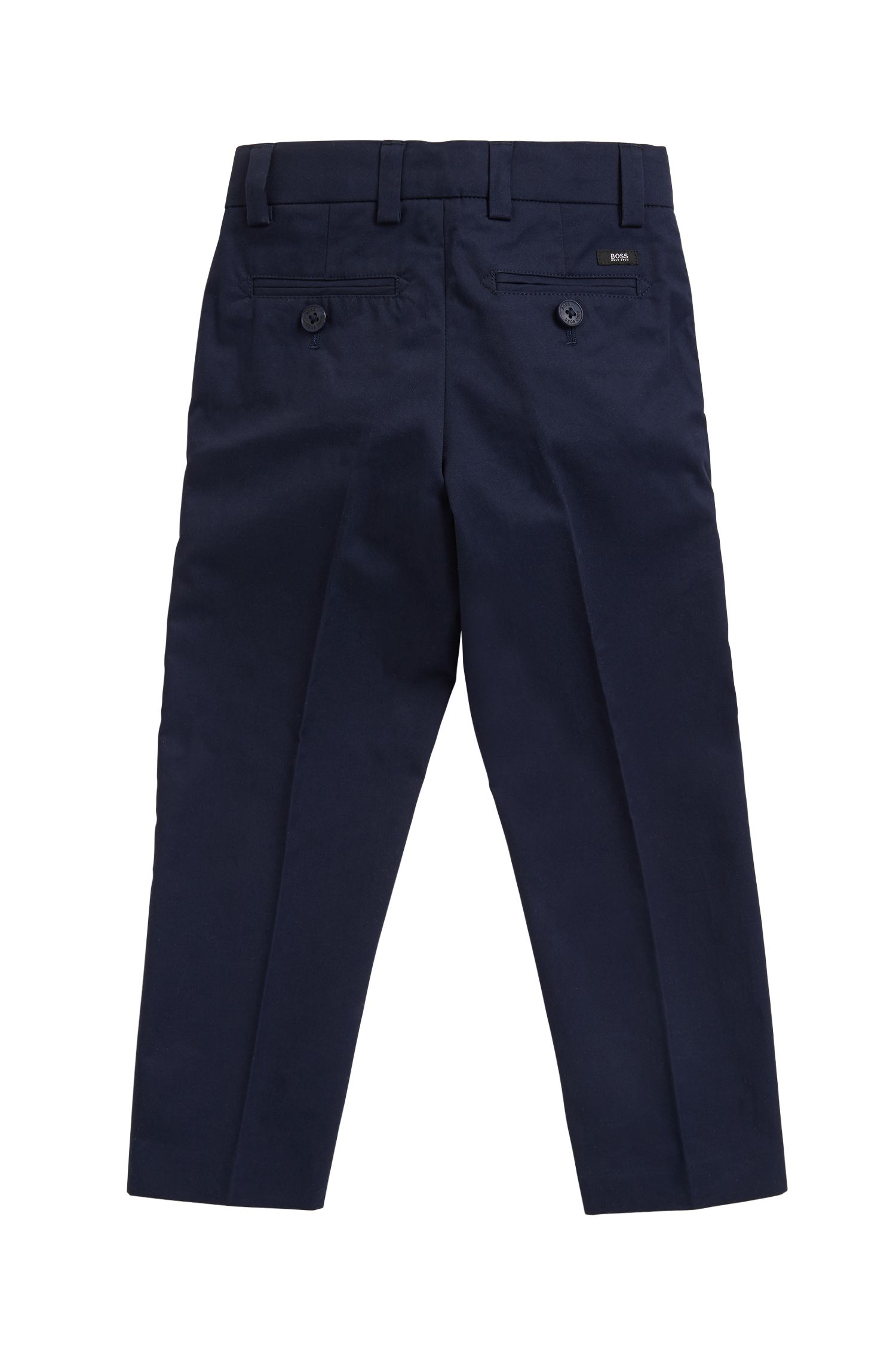 Eleganti pantaloni da bambino con piega in twill di cotone, Blu scuro