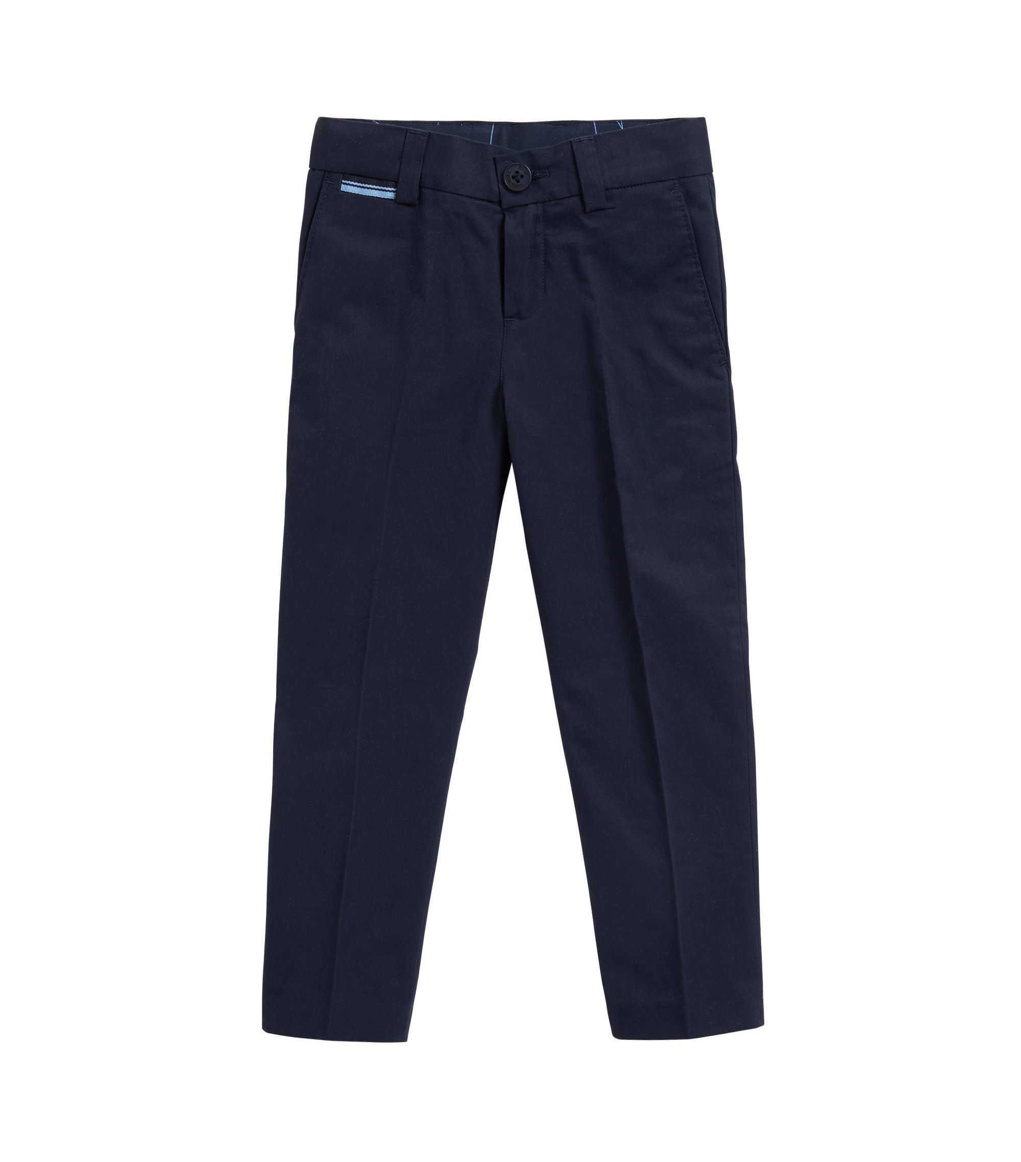 Kids' pleated suit trousers in cotton twill, Dark Blue