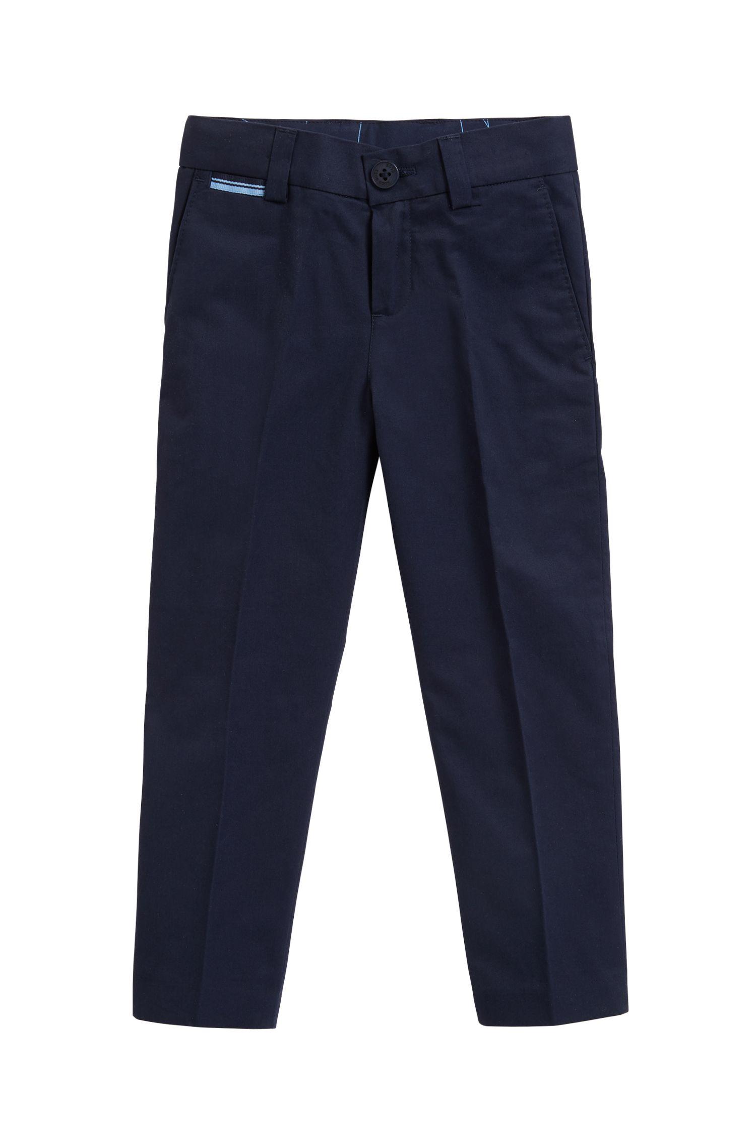 Pantalon de costume à pinces pour enfant en sergé de coton, Bleu foncé