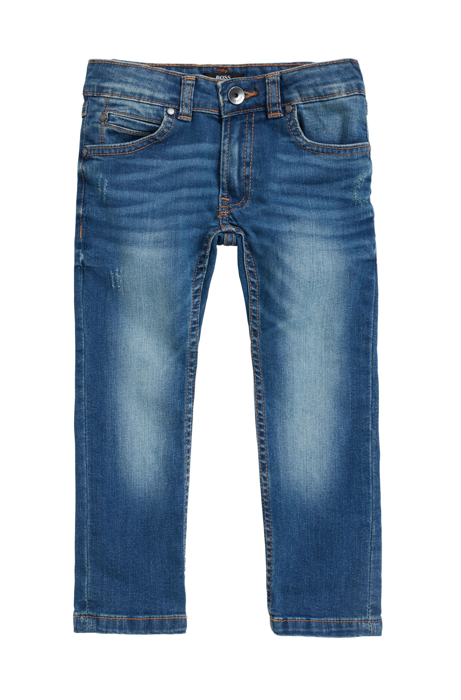 Jean enfant en denim stretch délavé